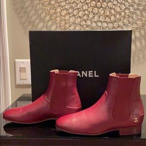 Chanel Burgundy Short Calfskin Boots Size 37
